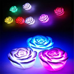 Wholesale Flower Shape Led Light - Changeable Color LED Rose Flower Candle Lights Smokeless Flameless Roses Love Lamp Creative Night Light Rose Shaped Light Romantic Lamp
