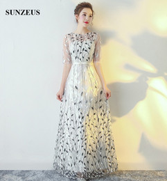 Wholesale Sequins Leaves - Beautiful Leaves Lace Prom Dresses Long A-line Half Sleeves Special Occasion Dress With Sequins Party Gowns Elegant