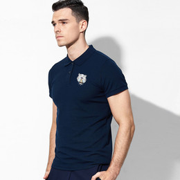 Wholesale Pink Station - European station new line of men's all-color polo shirts stylish personalized luxury cotton polo shirts polo homme with tiger logo S-XXXL