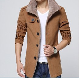 Wholesale Wool Coating Fabric Men - Wholesale- 2016 Men Autumn Winter Jacket Slim Fit Fashion High Quality Cotton Fabric Fur Jackets Man Winter Coat Parkas