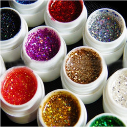 Wholesale Gel Nail Polish 12 - Wholesale- 12 Mix Glitter Paillette Hexagon Colors UV Gel for UV Nail Art Tips Extension Decoration uv gel nail polish sets