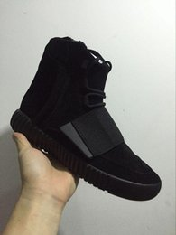 Wholesale Snow Men Leather Boots - 2017 Cheap Online Wholesale Boost 750 Pirate Black Women Men Kanye West shoes Classic Sports Running Fashion Sneaker Boosts Eur:36-46