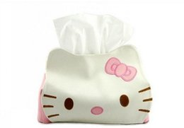 Wholesale Toilet Paper Holder Container - Wholesale- HOT Kawaii Hello KITTY 23CM PU Home & Car Tissue Case Box Container Pouch ; Napkin Papers BAG Holder BOX Case Pouch
