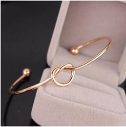 Wholesale Knot Bracelets Silver - 2017 NEW simple love knot open bracelet bangle two styles three colors