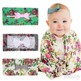 Wholesale Lace Baby Blanket - Newborn Baby Swaddling Blankets Lace Bow Headbands Set Baby Floral Pattern Swaddle Wrap Blanket Hairbands Baby Cotton wrap cloth BHB07
