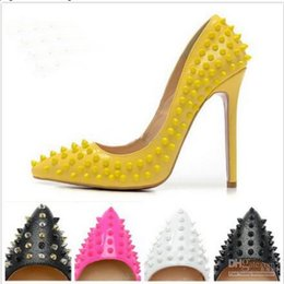 Wholesale high heels red spikes - New 2016 Womens Sexy PointToe Red Bottom Heels,Brand Designer Spiked Ladies High Heels,Fashion Genuine Leather Dress Shoes Size 34-45