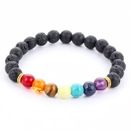 Wholesale Colorful Stone Bracelets - Men Women 8mm Colorful Lava Rock Beads Chakra Bracelet Black Healing Energy Stone Gemstone Strands Bracelet