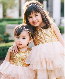 Wholesale Cute Tops For Cheap - cute cheap 2017 flower girl dresses for weddings top sequined tiered tulle a line toddler first communion dress custom made pageant gowns