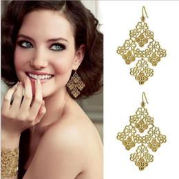 Wholesale Filigree Gold Earrings - Gold Plated Chantilly Lace Chandelier Style Filigree Fish Hook Dot Earwire Earrings