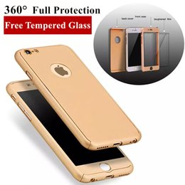 Wholesale Gold Iphone Screen Wholesale - 360° Full Protection Case For iPhone 7 6 6S Plus Samsung S8 S8Plus S7 S6 Edge Hybrid Full Body Case with Screen Protector