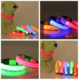 Wholesale Lighted Collars For Dogs - Luminous Nylon Pet Necklet Flat Fiber LED Light Up Dog Collar Safety Double Sides Translucent Pets Chaplet For Outdoor 3lh B