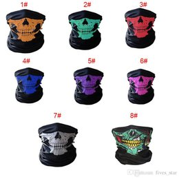 Wholesale Headband Scarves Wholesale - 2017 Skull Half Face Mask Scarf Bandana Bike Motorcycle Scarves Scarf Neck Face Mask Cycling Cosplay Ski Biker Headband XL-A200