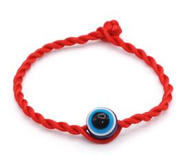 Wholesale bracelet stainless steel evil eye - Simple Stylish Bracelet Red Thread String Rope Blue 10mm Evil Eye Bracelet Good Luck Bracelet For Women and Men Gift 19cm