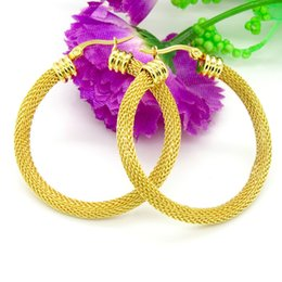 Wholesale Coloured Earrings - Wholesale- 3 Size Gold Colour Women Gift Sale Fashion Jewelry Stainless Steel Mesh Wives Round Fancy Hoop Earrings