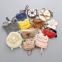 Wholesale Fox Style - Multi styles cute Girls cartoon shoulder bag fox cat bowknot tassles watermelon Donut chic mini satchel for baby and children