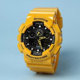 Wholesale Timed Watch - Sport Watches Hardlex New Arrival Plastic Men Retail Fashion Watch ga100 Time Zone Watch Watches Drop Shipping