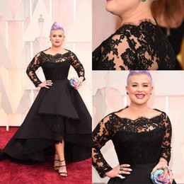 Wholesale Evening Gowns High Low - Kelly Osbourne 2015 87th Oscar Awards Red Carpet Dresses Bateau A Line Lace Long Sleeves Evening Dresses High Low Prom Gowns Celebrity Dress