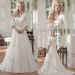 Wholesale Beaded Dress Slit Skirt - Modest Beaded Lace A Line Wedding Dresses with Half Sleeves Vintage V Neck Sequin Ruched Organza Plus Size Covered Buttons