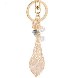 Wholesale Kc Gold Plating - High Quality Fashion Dreamcatcher Keyring KC Gold Plated Jewelry Leaf Keychain For Women 2017 Spring Leaves Key Ring