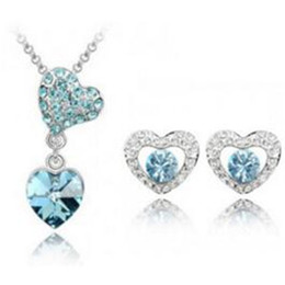 Wholesale Heart Shaped Necklaces For Girls - DHL Free Silver Necklaces for Girls Wedding Austrian Crystal Jewelry Set with Rhinestone Earrings Heart Shaped Crystal Jewelry Set for Women