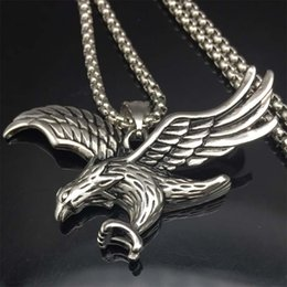 Wholesale Statement Necklaces Eagle - Eagle Necklace Statement Jewelry Sale silver tone Stainless Steel Hawk Animal Charm Pendant & Chain For Men