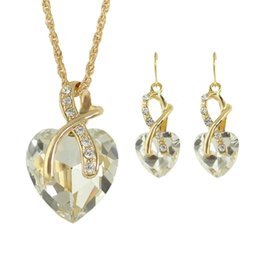 Wholesale Colorful Necklaces Crystals - New Colorful Rhinestone Heart Shape Pendant Necklaces Earrings Set
