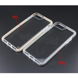Wholesale Cheapest Iphone Bag - For Iphone 8 7 i8 I7 Plus Case TPU + PC Case Clear 6 6s Case Soft TPU Hard PC 8 colors With Opp Bag cheapest Free DHL 100pcs