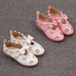 Wholesale Toddler Girl Genuine Leather Sandals - New Children Sandals Fashion Korean bowknot flower pearl Girls Shoes wedding dress shoes kids Wedge Sandals Toddler baby Footwear A262