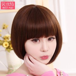 Wholesale Short Straight Hair Extensions - Women's Wig Hair Short and Straight Hair BOBO Head of The Whole Head of The Natural High Temperature Silk Cover Hair Extension
