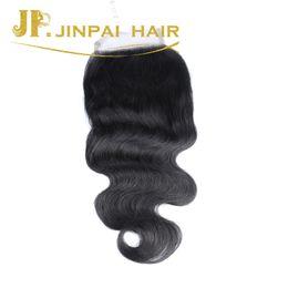 Wholesale Lace Closure Cap - Top Selling 4*4 Cap Size Natural Color Black Indian Peruvian Human Lace Closure Free Shipping Jinpai Hair