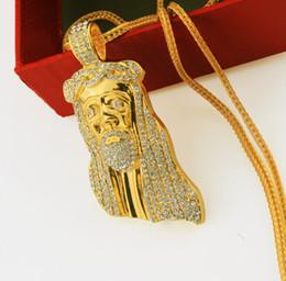 Wholesale Cheapest White Diamond - CHEAPEST!!18K Male face Pendant necklace Hip-hop Popular pendant gold chain diamond sets 80cm Alloy set auger Necklace free shipping