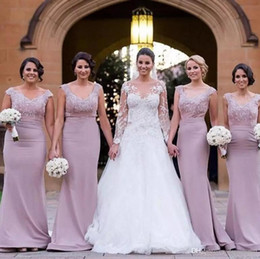 Wholesale Elegant Dress Top - 2017 Elegant Off the Shoulder Bridesmaid Dresses V Neck Lace Appliques Top Long Maid Of Honor Gowns Church Wedding Guest Wear