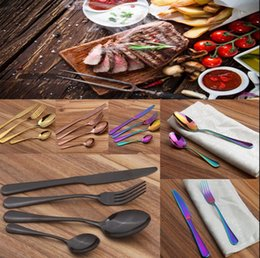 Wholesale Metal Dinner Plates Wholesale - Stainless Steel Cutlery Set Rainbow Gold Plated Dinnerware Fork Knife Spoon Dinner Set for Wedding Party 4pcs set 300Sets OOA2712