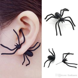 Wholesale Earring For Evening - Punk Halloween Black Spider Charm Ear Stud Earrings Evening Gift For Party Halloween Costume Novelty Toys