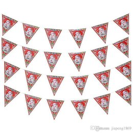 Wholesale Banner Settings - 8 pcs sets Santa Claus paper Banner Flag hang Pennants Arranged Christmas Party Banner Decorations Supplies flag Free shipping