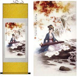 Pittura di seta appesa online-ritratto pittura Home Office Decoration pittura cinese donne arte pittura zhao jun Chu sai Silk Wall Art Scroll Hang Immagine