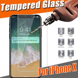 Wholesale 5s Iphone Protector - Tempered Glass Screen Protector Film Guard 9H Hardness Explosion Shatter Film Protector For iPhone X 8 7 Plus 6S 5 5S Samsung S8 S7 Note 8 5