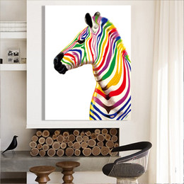 Wholesale Zebra Home Decor - Hand Painted Modern Abstract Art oil painting Colourful Zebra On High Quality Canvas Home Wall Decor in custom sizes