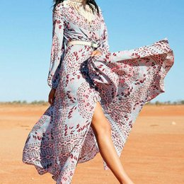 Wholesale Hot Sale Dresses Maxi - 2018 boho printing long dress women hot sale chic bohemian holiday long dress split front flare boho maxi dresses