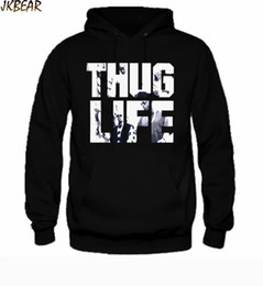 Wholesale Life Size Women - Wholesale-Hot-sale Rapper Tupac Thug Life Hoodies for Men and Women 2pac Hiphop Cotton Pullover Hoodie Plus Size S-XXL