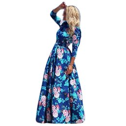 Wholesale Sexy Maxi Dress Night - Wholesale- 2016 New Women Vestidos Full Length Long Sleeve Dress Print O-neck Maxi Beach Dress Sexy Casual Cute Bohemian Summer Dress