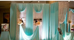 Wholesale Wedding Veil Decorations - Width150cm Festive & party supplies Tiffany blue silk wedding veil ice pearl cloth curtain fabric decoration stage background