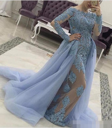 Wholesale Mermaid Detachable Skirt - 2017 Evening Dresses Long Sleeve Tulle Formal Dress with Detachable skirt Light Blue Illusion Lace Celebrity Gowns Dress for Party Wear