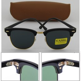 Wholesale Hot Sunglasses Square - Hot Sale Designer Vassl Hinge Metal Frame Fashion Sunglasses Men Sun Glasses Women G15 Black lens New 51mm with brown case
