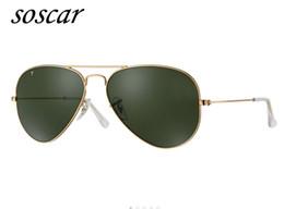 Wholesale Metal Hinge Sunglasses - Soscar Authentic Polarized Sunglasses Metal Frame UV400 Brand Designer Sunglasses Men Woman Gafas de sol Metal Hinge Pilot Style 55 58 62mm