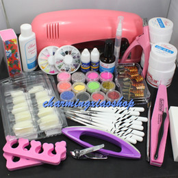 Wholesale Pro Acrylic Powder Nail Kit - Wholesale- Pro Nail Art UV Gel Kits Tools Pink UV lamp Brush Tips Glue Acrylic Powder Set Gel Nail Kits With Lamp Manicure Set 34213