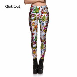 Wholesale Elk Leggings - Wholesale- Qickitout Leggings Merry Christmas New Women's Pretty Tree Presents Elk Leggings Digital Print Pants Trousers Wholesale