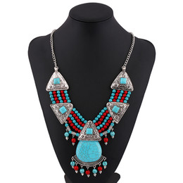 Wholesale Turquoise Beads Wholesale Prices - New arrival wholesale price boho style handmade beads turquoise necklace