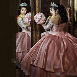 Wholesale Long Sweet Sixteen Dresses - Princess Tiered Skirt Ball Gown Quinceanera Dresses 2017 Vintage Lace Organza Sweet Sixteen Dress 1 2 Long Sleeve Corset Vestidos De 15 Anos
