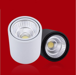 Wholesale Wholesale Ceiling Cans - Wholesale- 12PCS lot Dimmable New COB LED Downlight Can adjust angle 10W 15W 20w Spot Light Surface Mounted Ceiling Lamp Free Shipping